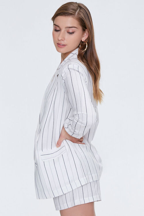 Pinstriped Notched Linen Blazer, image 2