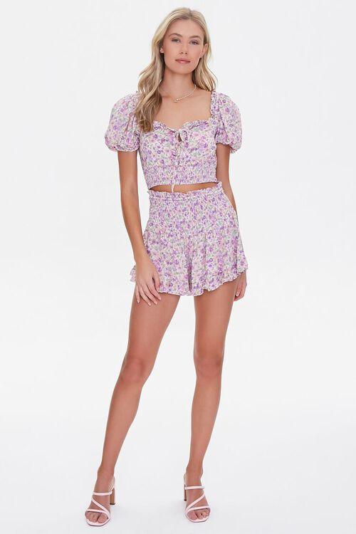 LAVENDER/MULTI Floral Smocked Mini Skirt, image 5