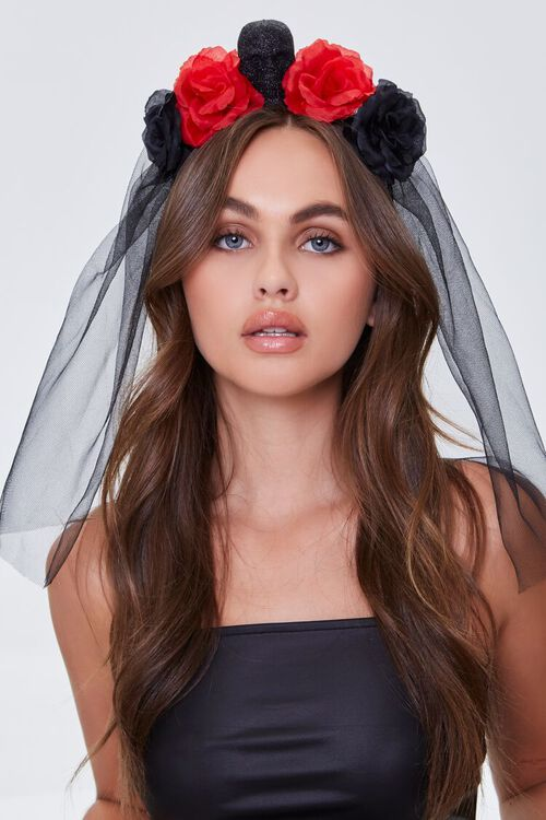 BLACK/RED Gothic Floral Veil Headband, image 1