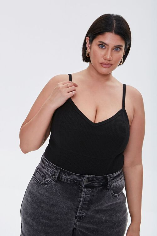 Plus Size Ribbed Knit Cami, image 1