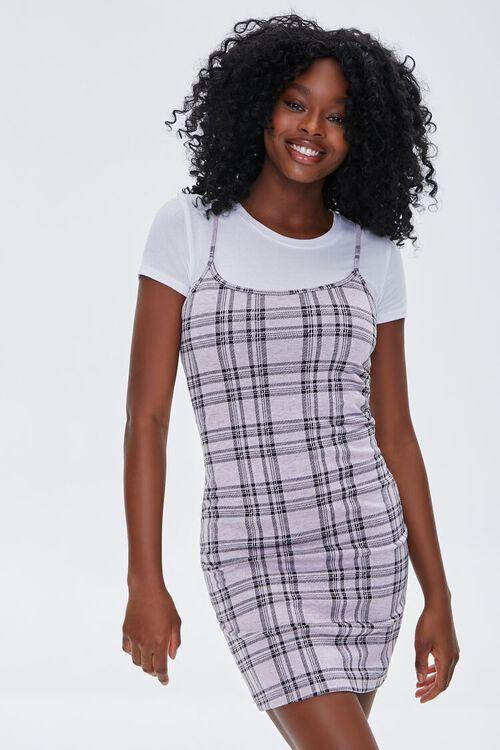 LAVENDER/WHITE Plaid Cami Overall Dress, image 1