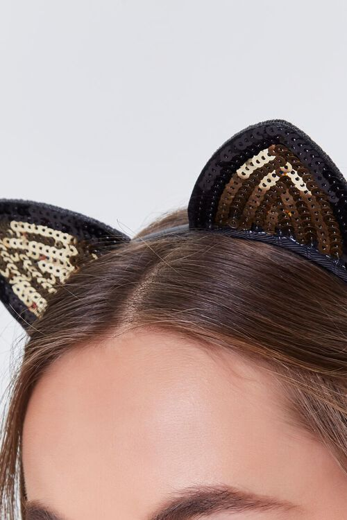 BLACK Sequin Cat Ear Headband, image 2
