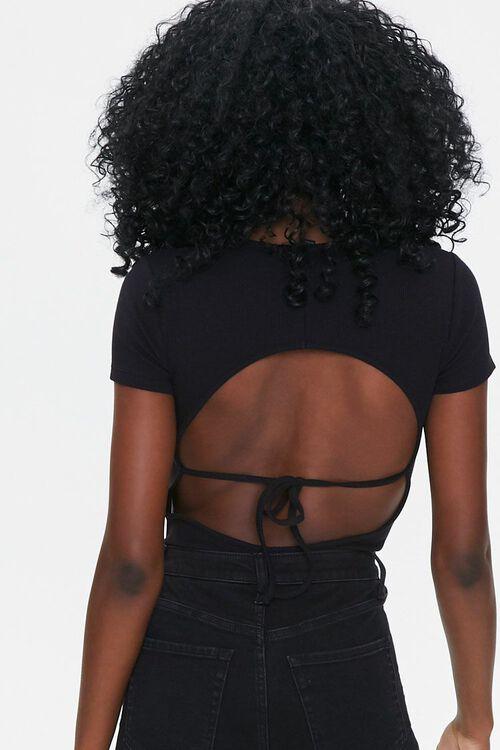 BLACK Cutout Tie-Back Bodysuit, image 3