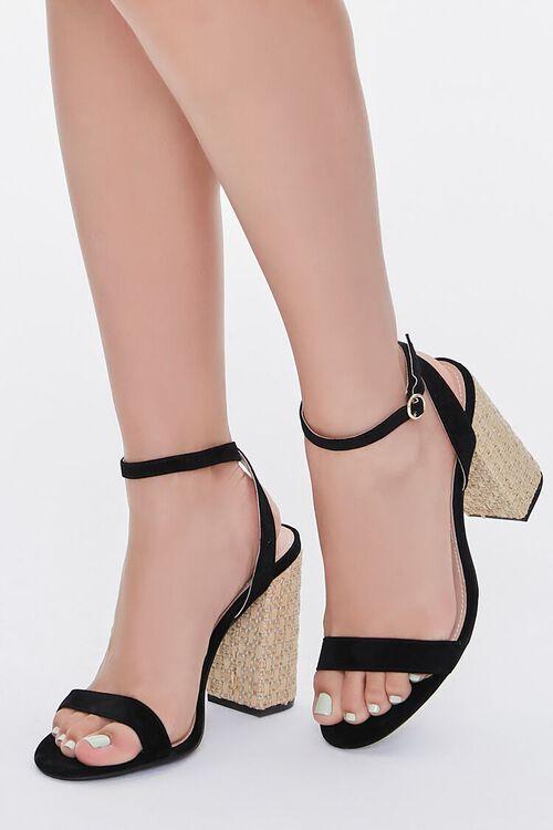 Faux Suede Basketwoven Block Heels, image 1