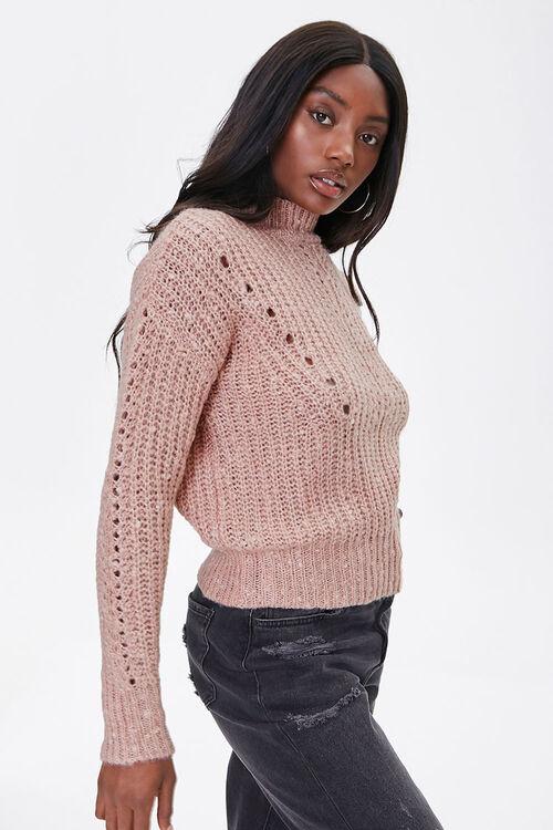 Open-Knit Mock Neck Sweater, image 2