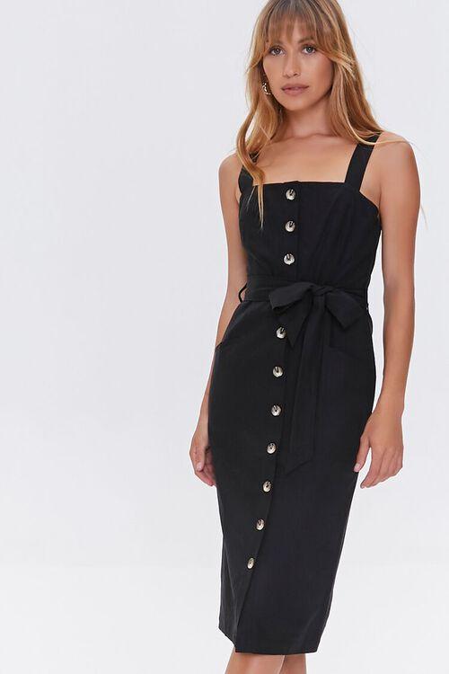 Linen-Blend Button-Front Dress, image 2