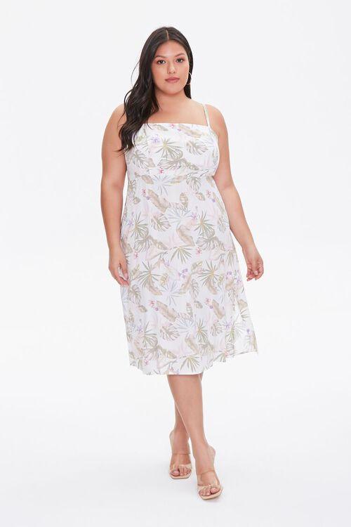 Plus Size Tropical Leaf Print Dress, image 4