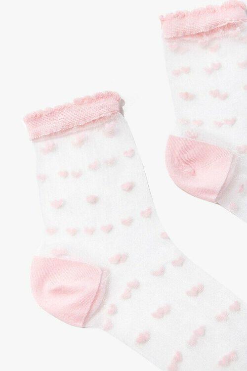 Clip Dot Heart Print Crew Socks, image 3