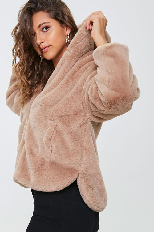 Plush Faux Fur Zip-Up Hoodie, image 2