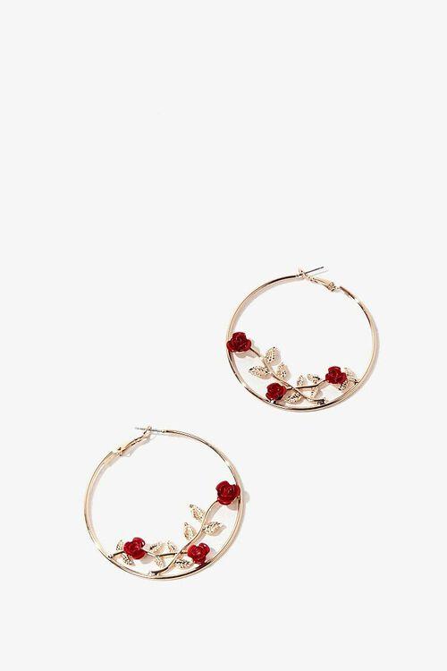 Rose Hoop Earrings, image 1