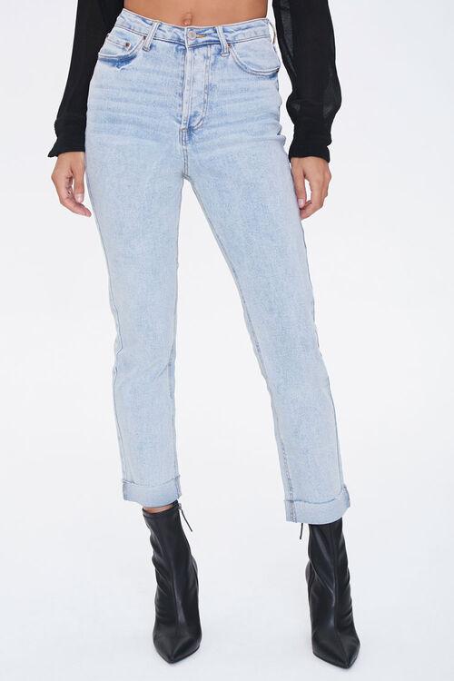 LIGHT DENIM Slim Straight High-Rise Jeans, image 2
