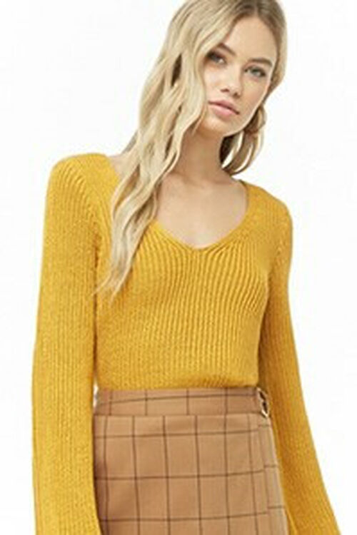 Ribbed Bell-Sleeve Sweater, image 1