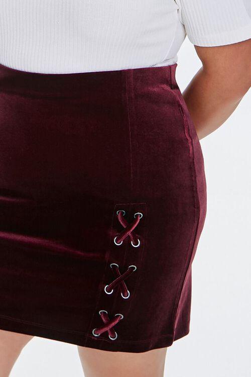 BURGUNDY Plus Size Velvet Skort, image 2