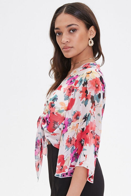 Chiffon Floral Self-Tie Top, image 2