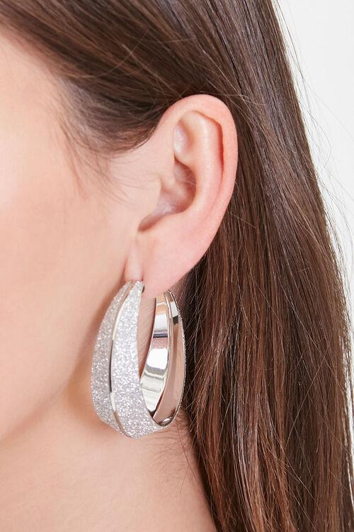Dual Glittered Hoop Earrings, image 1