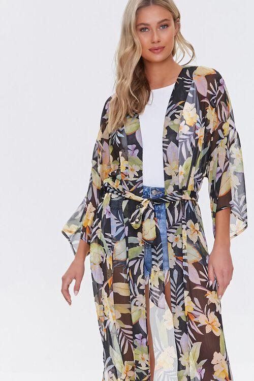 Tropical Floral Print Kimono, image 4