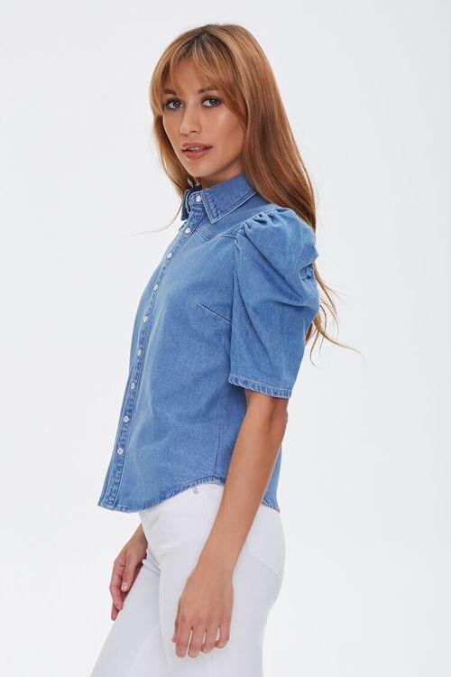 Puff-Sleeve Denim Shirt, image 2