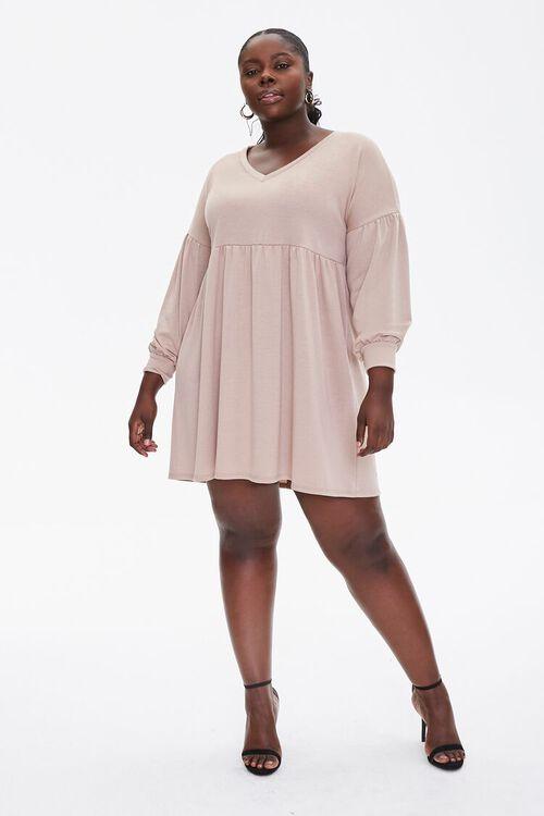 Plus Size Shirred Shift Mini Dress, image 4