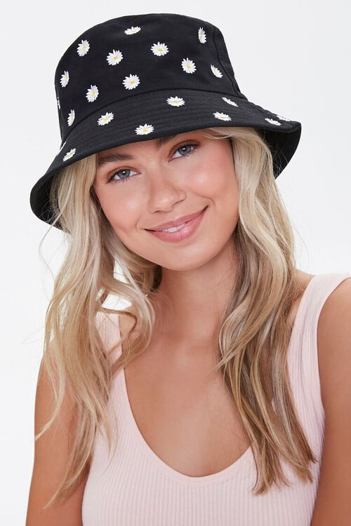 Embroidered Daisy Bucket Hat, image 1