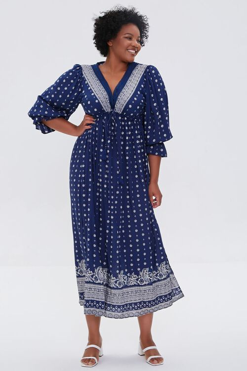 NAVY Plus Size Ornate Print Midi Dress, image 1
