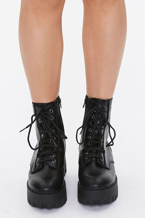 Faux Leather Lace-Up Platform Boots, image 4