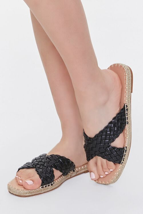 BLACK Crisscross Espadrille Flatform Sandals, image 1