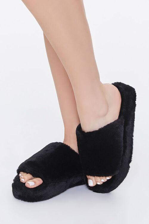 Faux Fur Platform Slippers, image 1