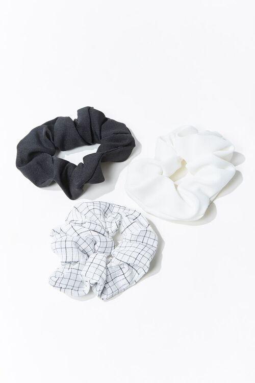 WHITE/MULTI Grid Print Scrunchie Set, image 1
