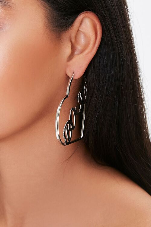 GOLD Boss Heart Pendant Hoop Earrings, image 2