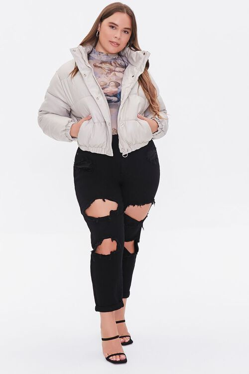 BEIGE Plus Size Faux Leather Puffer Jacket, image 4