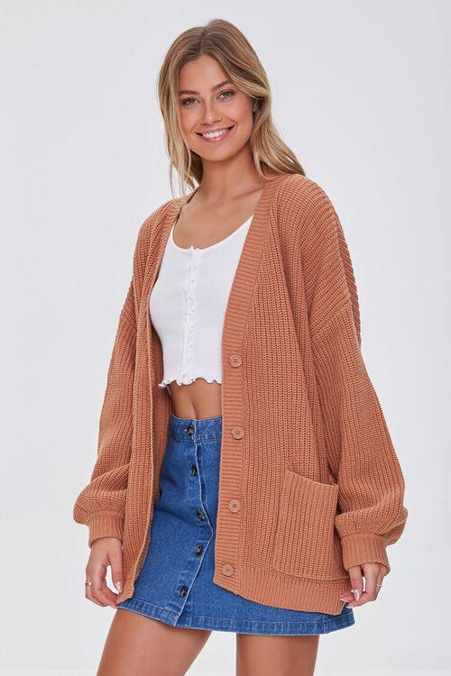 Balloon-Sleeve Cardigan Sweater, image 1