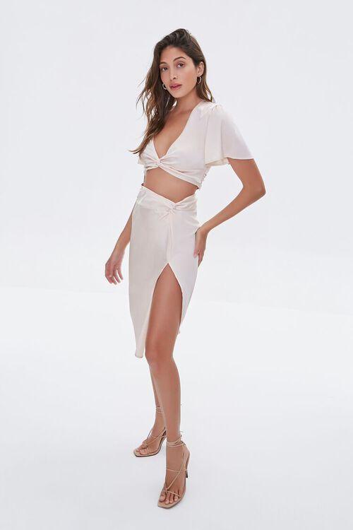 Gathered Satin Slit Skirt, image 5