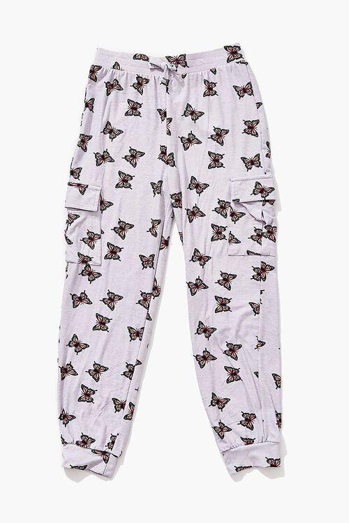 HEATHER GREY/MULTI Girls Butterfly Print Joggers (Kids), image 1