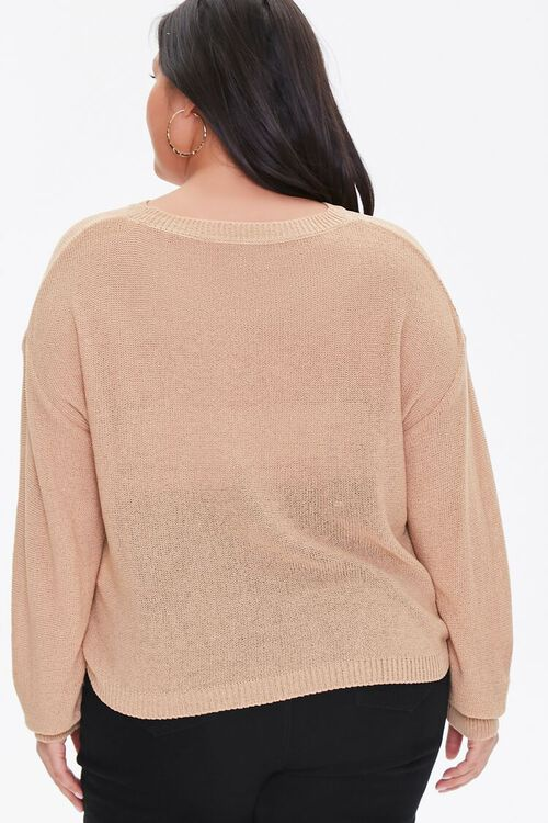 Plus Size Ribbed-Trim Sweater, image 3
