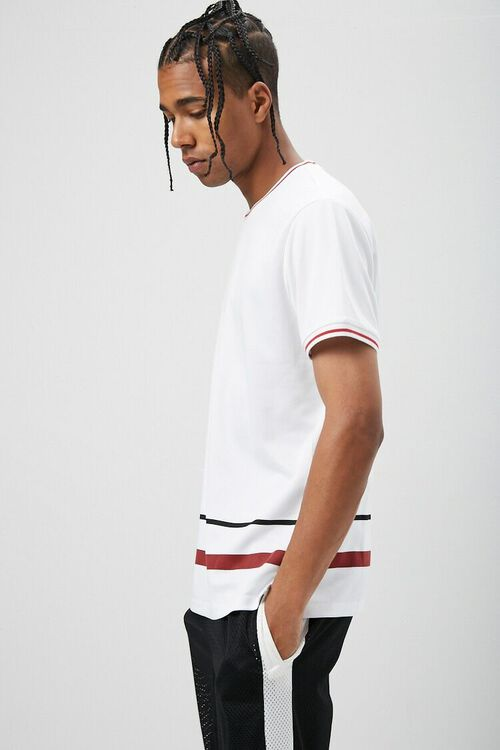 Jersey Mesh Striped-Trim Tee, image 2