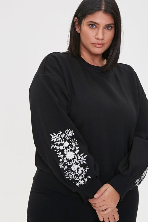 Plus Size Embroidered Floral Top, image 1