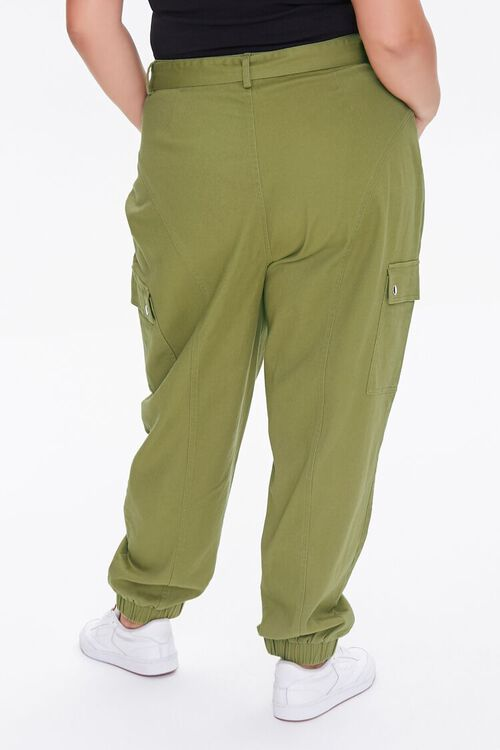 OLIVE Plus Size Belted Cargo Joggers, image 4