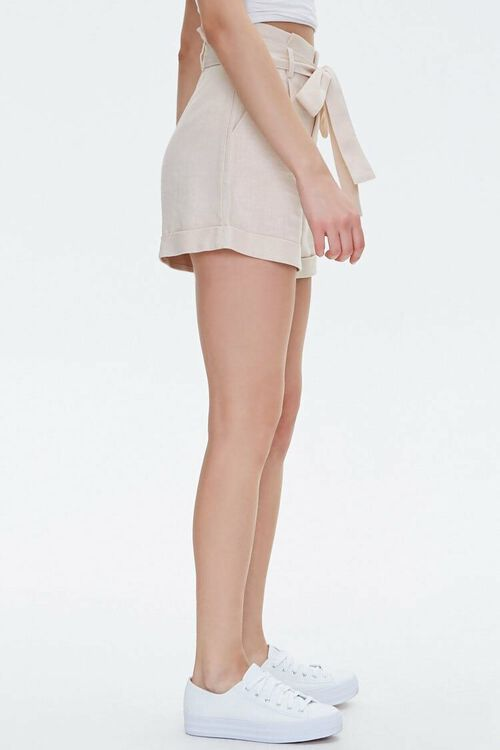 BEIGE Cuffed Belted Paperbag Shorts, image 3
