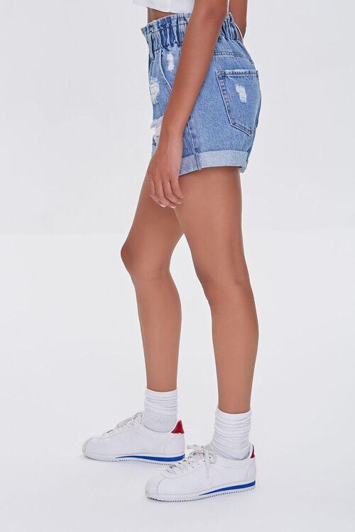 Distressed Denim Paperbag Shorts, image 3