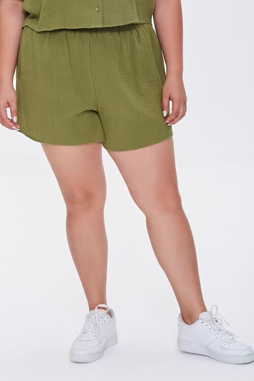 Plus Size Textured Shorts, image 2