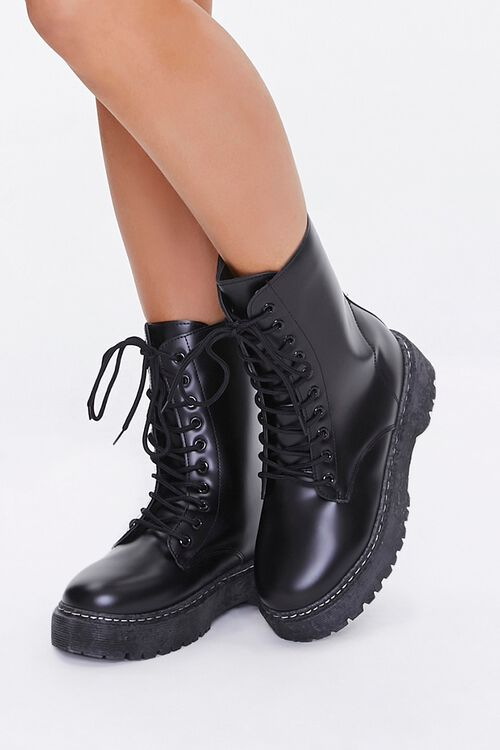 Faux Leather Combat Boots, image 1