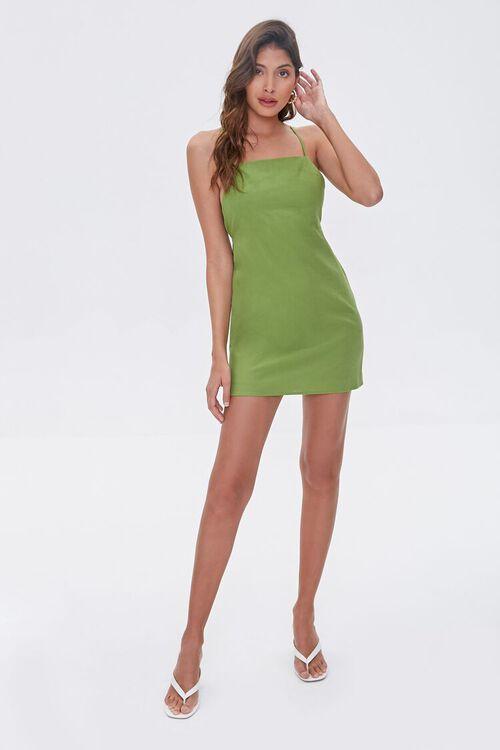 Crisscross Linen-Blend Mini Dress, image 4
