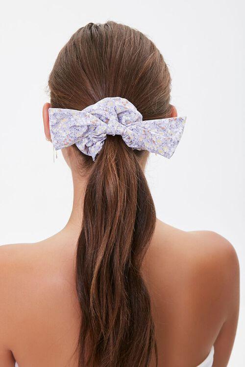Floral Print Bow Scrunchie, image 1