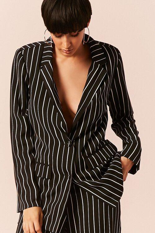 BLACK/IVORY Striped Button-Front Blazer, image 1