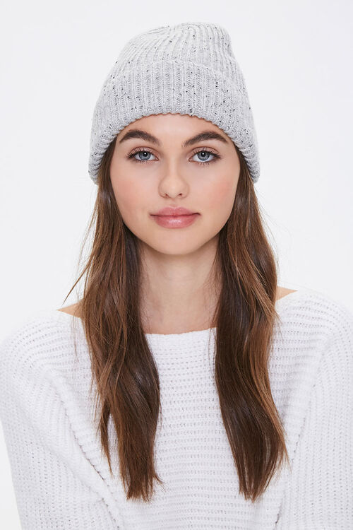 Speckled Rib-Knit Beanie, image 1
