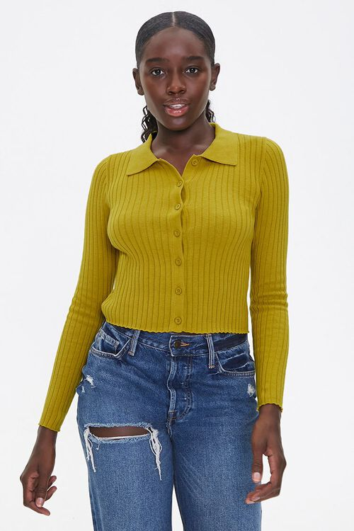 Ribbed Cardigan Sweater, image 1