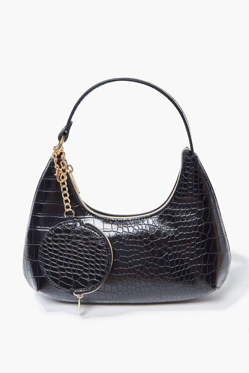 Faux Croc Leather Shoulder Bag, image 1