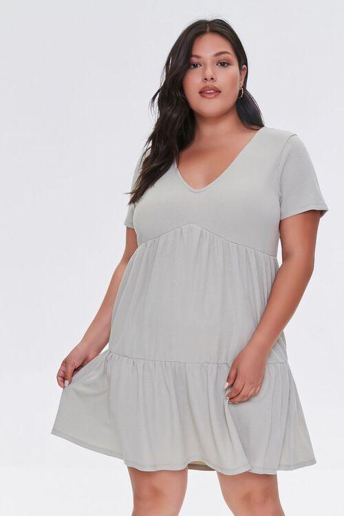 Plus Size Tiered Tie-Back Mini Dress, image 1