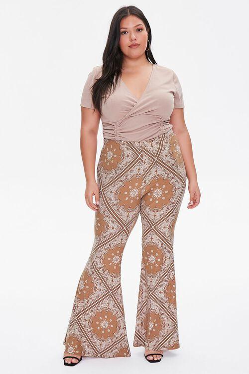 CAMEL/MULTI Plus Size Ornate Flare Jordyn Pants, image 5