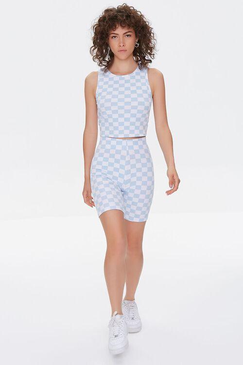 BLUE/WHITE Checkered High-Rise Biker Shorts, image 5